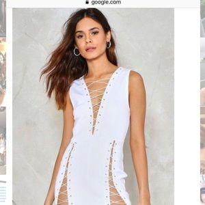 Nasty Gal BNWT White Lace Up Mini Dress